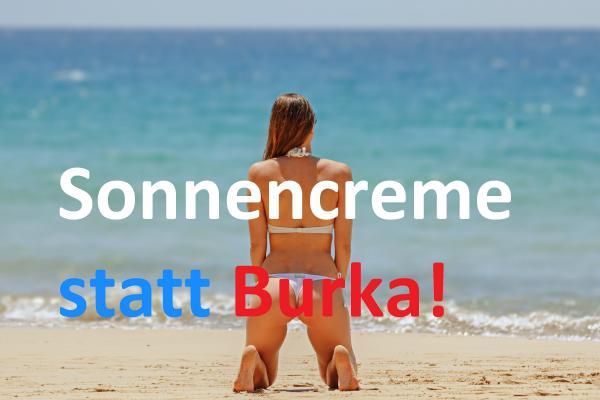 Imitation eines Wahlplakates der AfD, mit Frau im Bikini