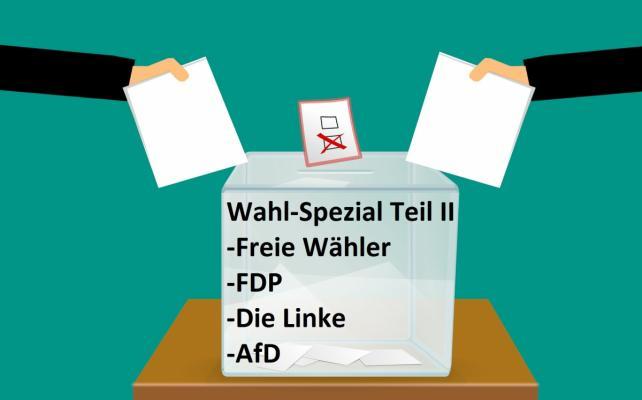 Wahlurne für Freie Wähler, FDP, die Linke, Afd